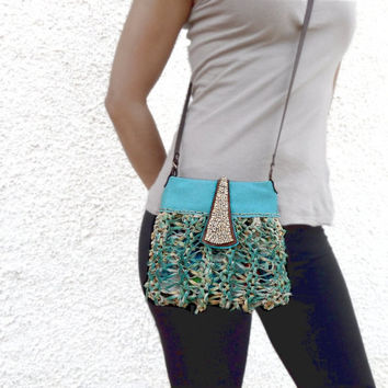 Turquoise and beige cross body bag, small crossbody purse, boho purse, teal leather purse, leather bag