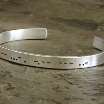 Personalized Morse Code Sterling Silver Cuff Bracelet – I love You