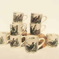 Johnson Brothers Game Birds Nine Mugs Partridge Pheasant Quail Ruffled Grouse Ironstone Coffee Cups