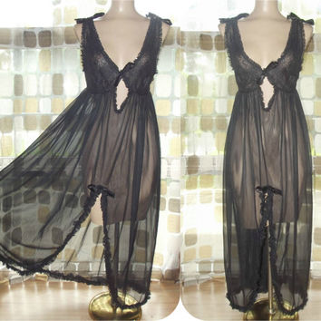 Vintage 60s Sheer Black Nylon Chiffon GMC Nightgown Rufle Trim Keyhole Bodice M/L/XL