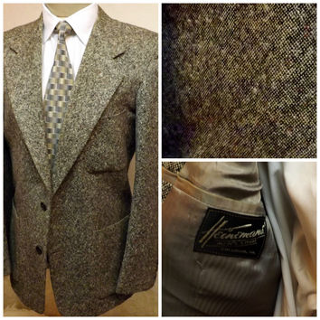 60s Mens or Boys Vintage Gray Chevoit Tweed Sport Coat Size 40R