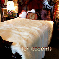 Luxurious BEDSPREAD Plush Bright White Mink Rabbit TWIN Faux Fur Bedspread, Comforter Blanket, Accent Rugs / Fake Sheepskin Throw / New