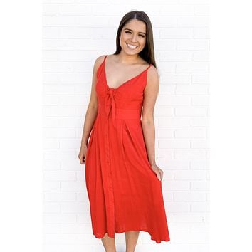 Red Front-Tie Flare Dress