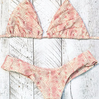Stone Fox –Shell Top / Tucker Bottom Bikini Separates (Nude Snake)