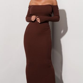 AKIRA Label Long Sleeve Open Back Ribbed Knit Maxi Dress is Chocolate
