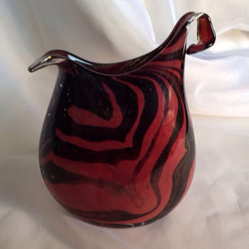 Marsala Red and Sparkly Black Glass Art Vase.  Hand Blown Glass Art Flattened Vase.  Modern Art Vase.