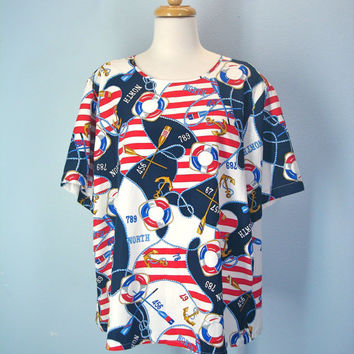 Vintage 80s Silky Blouse Nautical Boxy Tee Plus Size