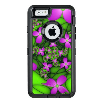 Modern Abstract Neon Pink Green Fractal Flowers OtterBox Defender iPhone Case