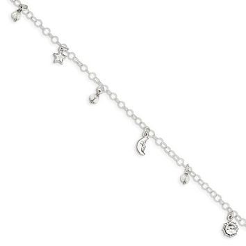 "Sterling Silver Sun, Moon & Stars 9"" Anklet With 1in Extender"