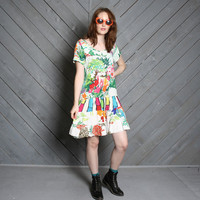 1980s NEON LANDSCAPE DRESS / Artsy Bright Dropwaist Mini, xs-m