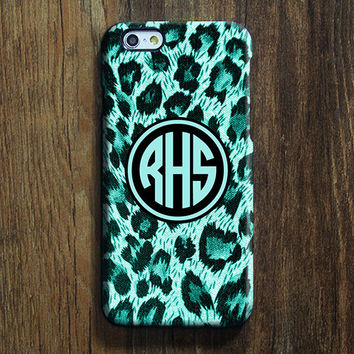 Turquoise Leopard Monogram iPhone 6s Case iPhone 6 plus Case Custom Initial iPhone 5S Case iPhone 5C Case Animal Galaxy S6Edge Case 099
