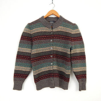 Vintage 80s Striped Shetland Wool Women's Sweater - Size Medium - Gray Burgundy Green Nordic Style Patterned Knit Cardigan - Lands End
