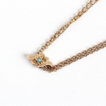 Antique 10k Blue Cab Stone Scalloped Slide Charm Necklace - Vintage Victorian Fob Pocket Watch Chain Layered Gold Filled Pendant Jewelry