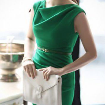 Classy Beauty. Emerald Green Cowl Neck Shift Dress. Work Or Cocktail