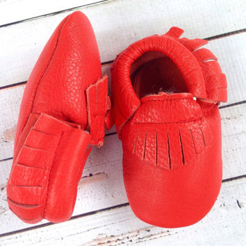 Red Fringe Boys firetruck infant one 1st Birthday photography invitation ideas infant Moccasin crib shoes for baby