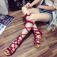2017 new summer girls cross strap sandals high gladiator sandals tall sandals for women boot sandals shoes 3 colors PA876627