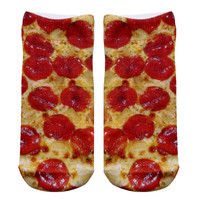 Red & Yellow Pizza Knit Ankle Socks
