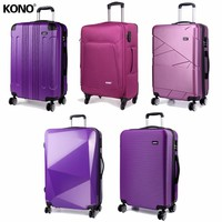 KONO Lightweight Rolling Luggage Suitcase Large Travel School Business Carry On Trolley Case Bag 4 Wheel Spinner 28 Inch Purple