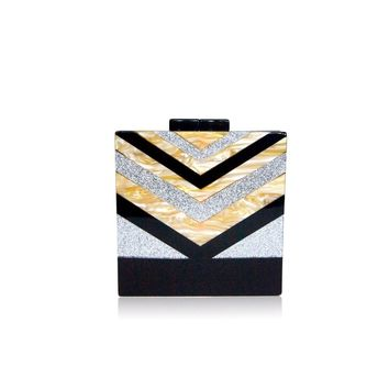 Black V Strip Silver Glitter Box Clutch