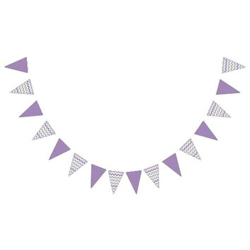 Purple Gray Chevron Festive Bunting Bunting Flags