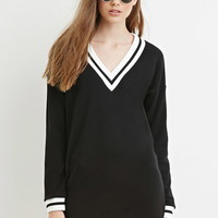 Contemporary Varsity-Striped Sweatshirt Dress