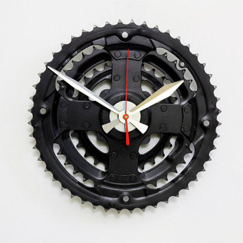 Bicycle Gear Clock, Recycled Bike Parts Clock, Steampunk Clock, Unique Clock, Modern Clock, Industrial Wall Clock, Cycling Gifts