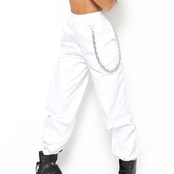 White Plain Chain Zipper Pockets High Waisted Casual Long Pants