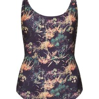Topshop 'Botanic Bamboo' Print Strappy Back One-Piece Swimsuit