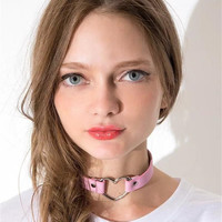 Hot Sale Fashion Sexy Punk Gothic Leather Choker necklace Heart Studded Spike Rivet Buckle Collar Funky Torques Necklace Jewelry
