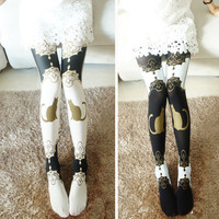 Opaque Women Sexy Retro Punk Cute Tattoo Cat Print Tights Pantyhose Stockings