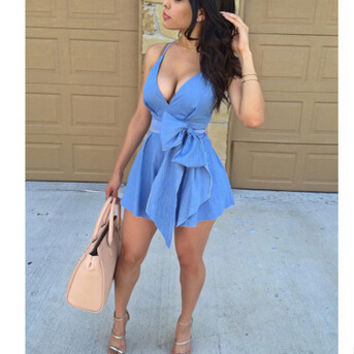 Women's Blue Summer Short Dress Shirt