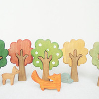 WALDORF Tree set Seasons Play set Learning Toys Wooden Tree Figurines Woodland tree set Puzzle Handcrafted Toys for toddlers Gift idea
