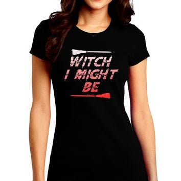 Witch I Might Be Juniors Petite Crew Dark T-Shirt by TooLoud