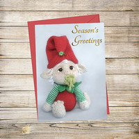 Holiday Printable Greeting Card- Crochet Baby Elf Christmas Card Instant Download