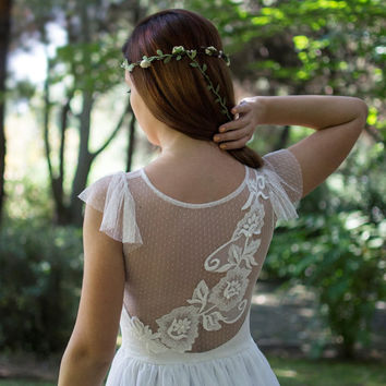Ivory Bohemian Wedding Dress Beautiful Lace Wedding Long Gown Boho Gown Bridal Gypsy Wedding Dress - Handmade by SuzannaM Designs