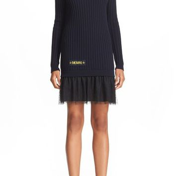 RED Valentino Embroidered Rib Knit Sweater Dress | Nordstrom