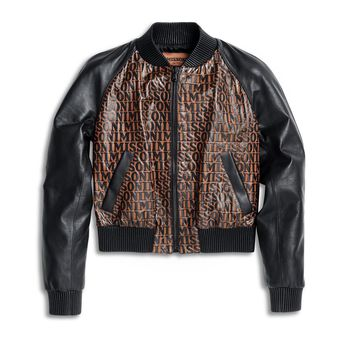 Logo All Over Leather Bomber Jacket by Missoni