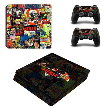 Batman Dark Knight gift Christmas Scene  Batman Skin Sticker Cover Protector Vinyl Sticker For PS4 Slim Console Kinect and 2 Controller Skin #0173 AT_71_6