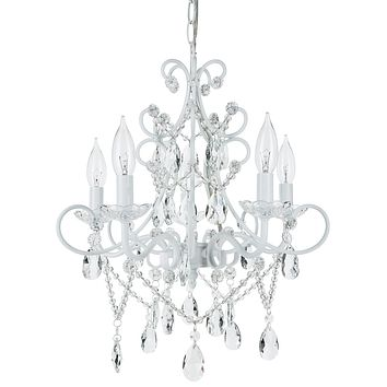 5 Light Classic Crystal Plug-In Chandelier (White)