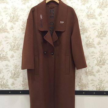 Brown Double Breasted Two Button Womens Drop Shoulder Wool Coat