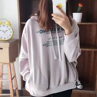 Printed letters loose hooded bat sleeve Sweater Pink