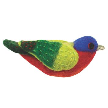 Felt Bird Garden Ornament - Painted Bunting - Wild Woolies (G)