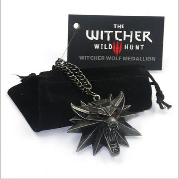 2018 Game Jewelry Witcher 3 Wild Wolf Head Necklace Men Collier Medallion Wizard Wolf Wild Hunt 3 Figure Game graduation gift