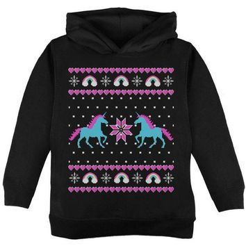 DCCKIS3 Unicorn Rainbow Ugly Christmas Sweater Toddler Hoodie