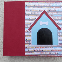 6x6 Dog Scrapbook Photo Album in Red Yellow and Blue
