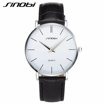 SINOBI Mens Ultrathin Wrist Watches for Luxury Brand Leather Watchband Males Waterproof Quartz Clock Montre Homme Marque de Luxe
