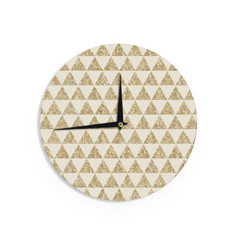 "Nika Martinez ""Glitter Triangles in Gold"" Tan Yellow Wall Clock"