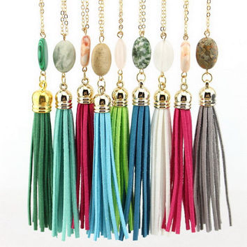 Boho Velvet Long Tassel Necklace
