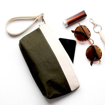Recycled Army Canvas Small Makeup Bag with BEIGE Vegan Leather Accent, Waxed Cotton Zipper Pouch, Army Canvas Cosmetic Bag