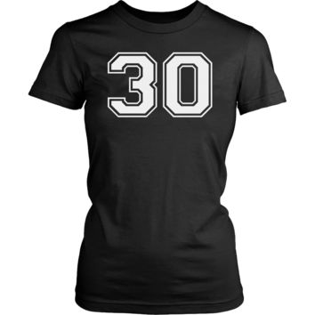Women's Vintage Sports Jersey Number 30 T-Shirt for Fan or Player #30